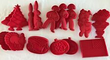 15 Cookie Cutters Red Plastic Vintage Tupperware Holiday Some Duplicates