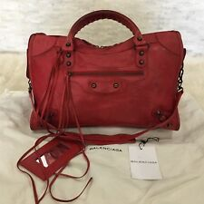 Authentic BALENCIAGA City 2Way Shoulder Hand Bag Leather Red