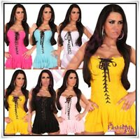 Sexy Women's Party Mini Dress Ladies Summer Faux Corset Dress One Size 6,8,10 UK