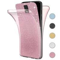 Handy Hülle Samsung Galaxy S5 Full TPU Case Glitzer Schutzhülle Slim Cover Klar