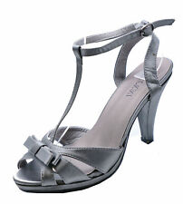 LADIES GREY SATIN STRAPPY SLIP-ON PEEP-TOE EVENING SHOES T-BAR SANDALS UK 3-8