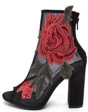 Black Mesh Red Rose Peep Toe Ankle Bootie Heels, US 6-10