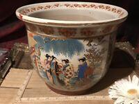 """Asian Porcelain Large Satsuma Planter, Geisha & Floral Design 10 1/4""""x8"""""""