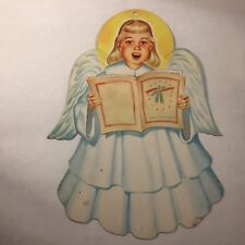 "Vtg 50`s Christmas ANGEL w SONG BOOK Caroler Diecut Decoration 11.5"" x 8.5"""