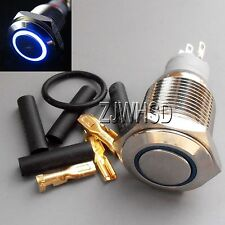 16mm 110V BLUE Led Angel Eye Push Button Metal ON-OFF Switch + Connector O-ring