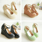 Shoes Ankle Buckle Pumps High-Heel Sexy Women Fashion Round Toe Wedge Party Lady