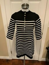 Maje Black & White Striped Snap Button Sweater Dress, Size 1 (Small)