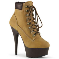 """Delight 600tl-2 Tan Nubuck Work Style 6"""" High Heel Ankle Boots 5-14"""