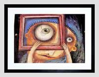 PAINTING SURREAL MAN LARGE EYE FRAME MAGNIFY FACE HEAD FRAMED PRINT B12X11529
