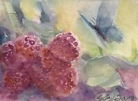 ACEO Original painting Butterfly Art Raspberries listed by artist artettina USA