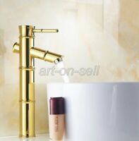 Gold Color Brass Bamboo Bathroom Basin Sink Faucet Single Handle Mixer Tap