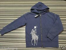 RALPH LAUREN Rare! Denim Blue BIG PONY Logo Zip Hoodie : Size 7  Age 6 - 7 BNWOT
