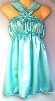 Aqua satin dress adult baby fancy dress sissy french maid cosplay fits 36-46