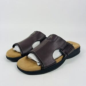 New DR SCHOLLS Advanced Comfort 10 Brown Leather Mens Sandals Slides