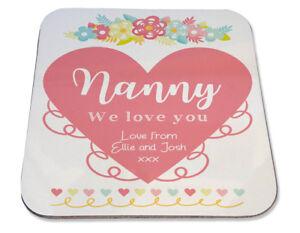 Personalised Printed Coaster Nanny Nan Mum Heart Floral love Birthday gift