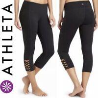 ATHLETA Womens MIND OVER MAT Capri Leggings Black Cropped Woven Detail Medium