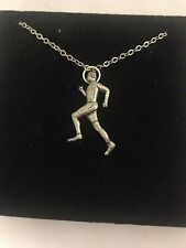 """Running Man PP-B English Pewter on a Silver Platinum Plated Necklace 18"""""""