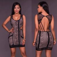 Women's Summer Lace Bandage Bodycon Evening Party Cocktail Club Short Mini Dress