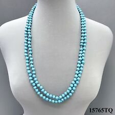 "Boho Wrap Around Long Knotted Rope Turquoise Wood Beaded Design Necklace 60""in"