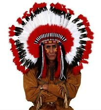 Deluxe Red Feather Native American Indian Chief Headdress Fancy Dress Accessory