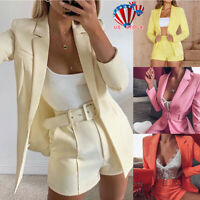 Women 2Pcs Blazer Suit Office Jacket + Shorts High Waist Hot Pants Co-ord Set US