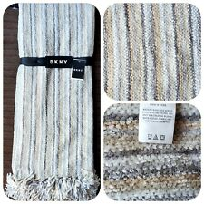 Dkny Chenille Striped Gray Natural White Throw 50x60""