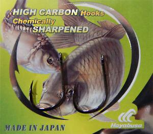 Hayabusa K-1 Carp Fishing Hooks Ringed Sizes 2,4,6,8. 10 Hooks Per Pack New