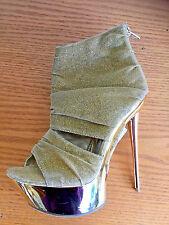 Mona Mia Irisha Sample Spike Stiletto Heels Glittery  Gold  NWT  6