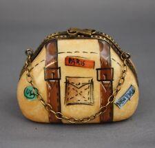 Limoges Travel Bag Chain Handle Trinket Box Peint Main Leather Straps Paris Ny