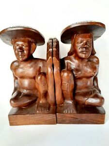 Tribal  Naked Sculpture Couple  Women Men Wooden hand Carved Bookends