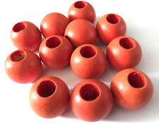 20 pcs Large Orange Wood Beads Round 25mm Bead Jewelry Making Wooden Tool 8n