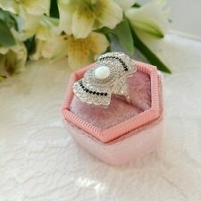 Art Deco Opal Cubic Zirconia Sterling Silver Statement Ring