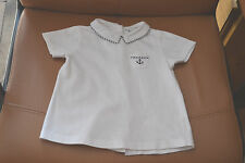 tee shirt cyrillus 18 mois matelot blanc  ancre marine