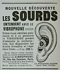 PUBLICITÉ DE PRESSE 1914 LES SOURDS ENTENDENT AVEC LE VIBROPHONE