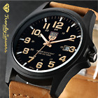 Men?s Military Leather Date Quartz Analog Army Casual Dress Wrist Watches