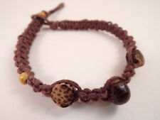 Men's Wood Beaded Macrame Hemp Loop Closure Bracelet #7 7 1/2 inches