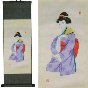 Japanese Geshia Silk Scroll in Kimono Wall Hanging Silk Print New