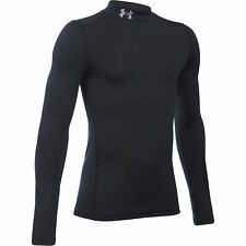 Under Armour Coldgear Mock Cou Manches Longues Enfants Maillot Baselayer - Noir