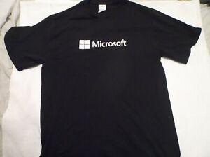 Solid Black Microsoft Logo T-shirt White Lettering Medium M Simple Minimal