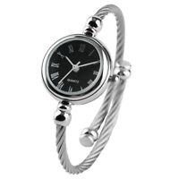 Women Fashion Ladies Analog Quartz Wrist Watch Silver Steel Wire Bangle Bracelet
