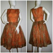 Vintage 1950s Dress Jerry Gilden Party Prom Chiffon Autumn Colors 35-27-full S M