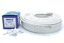 20 M RG6 Kit de extensión de cable coaxial de TV por satélite de corte ajustado Conectores F -