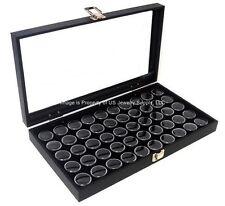 Wholesale Lot of 6 Glass Top Lid Black 50 Gem Jar Display Cases