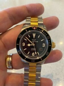 Glycine Combat Sub 42 Black Men's Watch with ST Gold/Silver band - GL0259