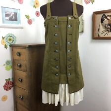 Free People Green Wool Military Dress Tunic Style Ruffle Skirt Metal Buttons 4