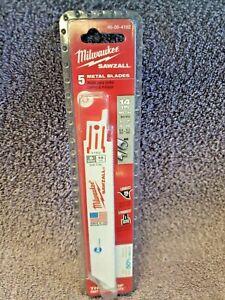 "Milwaukee 48-00-4182 ICE Sawzall 6"" 14 TPI Blades 5 Pk. NEW"
