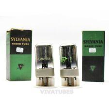 True NOS NIB Date Matched Pair Sylvania USA 7A4 Black Plate Get Vacuum Tubes