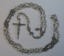 "† SCARCE VINTAGE TEACHING MYSTERIES LINKS & CLEAR GLASS ROSARY 36"" NECKLACE †"