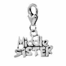 Middle Sister Sibling Word Gift Clip On Lobster Claw Dangle Charm for Bracelets