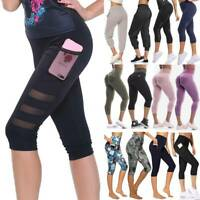 Women 3/4 Yoga Pants Capri Leggings With Pockets Gym Fitness Running Trousers